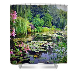Fairy Tale Pond With Water Lilies And Willow Trees Shower Curtain