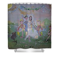 Shower Curtain featuring the painting Fairy Wedding by Judith Desrosiers