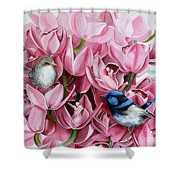 Fairy Wrens And Orchids Shower Curtain by Debbie Hart