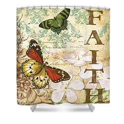 Faith And Butterflies Shower Curtain by Jean Plout