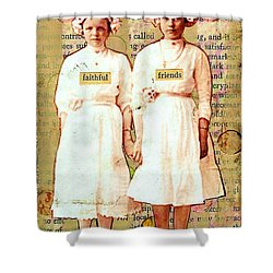 Shower Curtain featuring the mixed media Faithful Friends by Desiree Paquette
