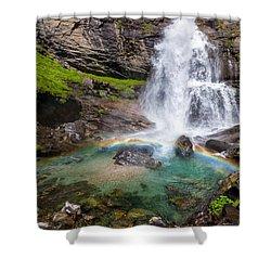 Fall And Rainbow Shower Curtain by Silvia Ganora
