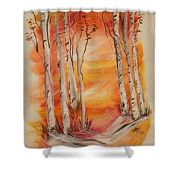 Shower Curtain featuring the painting Fall Aspen On Paper by Janice Rae Pariza