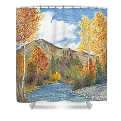Shower Curtain featuring the painting Fall Aspens by Phyllis Howard