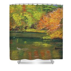 Shower Curtain featuring the painting Fall At Dorrs Pond by Linda Feinberg