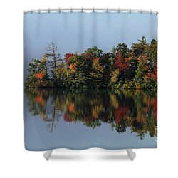 Fall At Heart Pond Shower Curtain