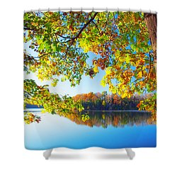 Fall By The Lake Shower Curtain