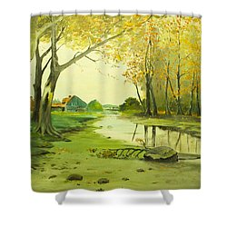 Fall By The Stream By Merlin Reynolds Shower Curtain