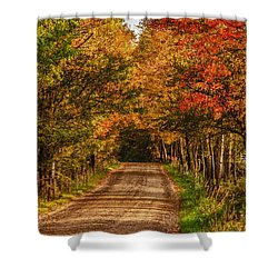Shower Curtain featuring the photograph Fall Color Along A Dirt Backroad by Jeff Folger