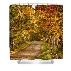 Shower Curtain featuring the photograph Fall Color Along A Peacham Vermont Backroad by Jeff Folger