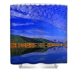 Shower Curtain featuring the photograph Fall Color Oxbow Bend Grand Tetons National Park Wyoming by Dave Welling