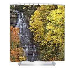 Shower Curtain featuring the photograph Fall Color Surrounds Chapel Falls On The Michigan Upper Peninsula by Dave Welling