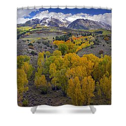 Fall Colors At Chair Mountain Colorado Shower Curtain by Tim Fitzharris