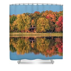 Fall Colors In Cabin Country Shower Curtain by Paul Freidlund
