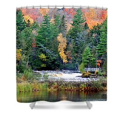 Fall Colors On The  Tahquamenon River   Shower Curtain by Optical Playground By MP Ray