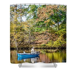 Shower Curtain featuring the photograph Fishing Reflection by Debbie Green