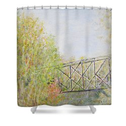 Fall Foliage And Bridge In Nh Shower Curtain