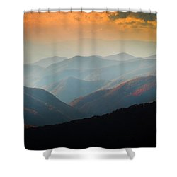 Fall Foliage Ridgelines Great Smoky Mountains Painted  Shower Curtain by Rich Franco