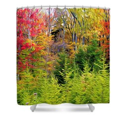 Fall Forest Foliage Shower Curtain by Lanjee Chee