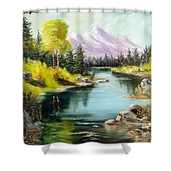Fall In The Rockies Shower Curtain by Lee Piper