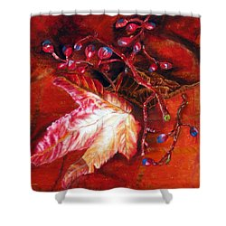 Shower Curtain featuring the painting Fall Leaf And Berries by LaVonne Hand