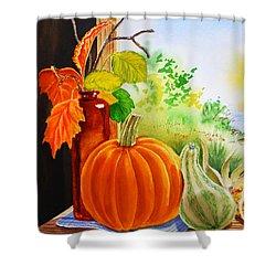 Shower Curtain featuring the painting Fall Leaves Pumpkin Gourd by Irina Sztukowski