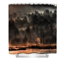 Fall Morning Fog Shower Curtain by Jeff Folger