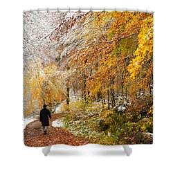 Fall Or Winter - Autumn Colors And Snow In The Forest Shower Curtain by Matthias Hauser