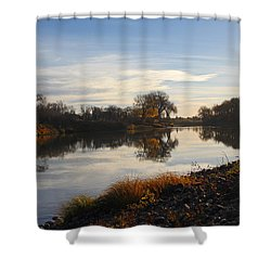 Shower Curtain featuring the photograph Fall Red River At Sunrise by Steve Augustin