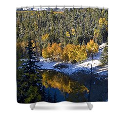 Fall Reflections On Bobcat Pass Shower Curtain