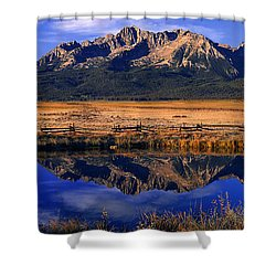 Shower Curtain featuring the photograph Fall Reflections Sawtooth Mountains Idaho by Dave Welling