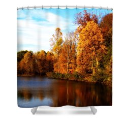 Shower Curtain featuring the photograph Fall Scene At Hedden Pond With Orton Effect by Eleanor Abramson