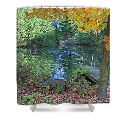 Shower Curtain featuring the photograph Fall Scene By Pond by Brenda Brown