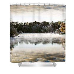 Fall Scene On The Mississippi Shower Curtain by Cheryl Baxter