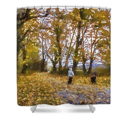 Fall Stroll Shower Curtain by Barry Jones