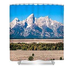 Fall Tetons Panorama   Shower Curtain by Lars Lentz