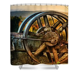 Fall Through The Wheels Shower Curtain by Susan Capuano