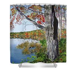 Shower Curtain featuring the painting Fall Tree by Carol Flagg