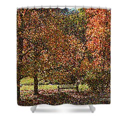 Fall Trees Shower Curtain by Nicholas Burningham