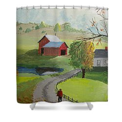 Shower Curtain featuring the painting Fall Walk by Norm Starks