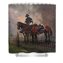 Fallen Comrade Shower Curtain by Rob Corsetti
