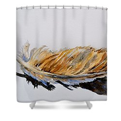 Shower Curtain featuring the painting Fallen Feather by Beverley Harper Tinsley