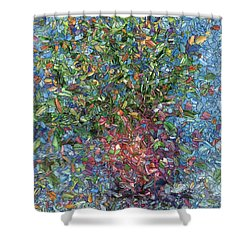 Shower Curtain featuring the painting Falling Flowers by James W Johnson