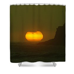 Falling Into The Waves Shower Curtain by Jeff Swan