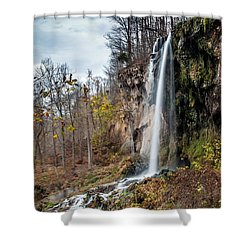 Falling Springs Fall Shower Curtain by Debbie Green