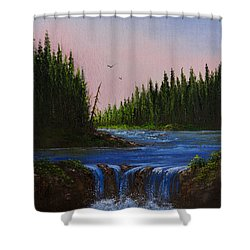 Falls At Rivers Bend Shower Curtain by C Steele