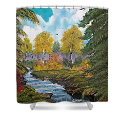 Shower Curtain featuring the painting Rushing Waters  Falls  by Sharon Duguay