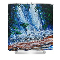 Waterfall In The Forest Shower Curtain by Diane Pape