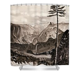 Falls Of The Yosemite Painting Shower Curtain by Warren Thompson
