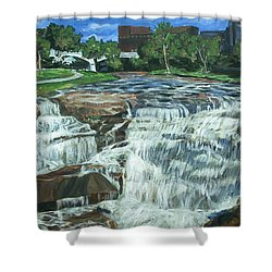 Shower Curtain featuring the painting Falls River Park by Bryan Bustard